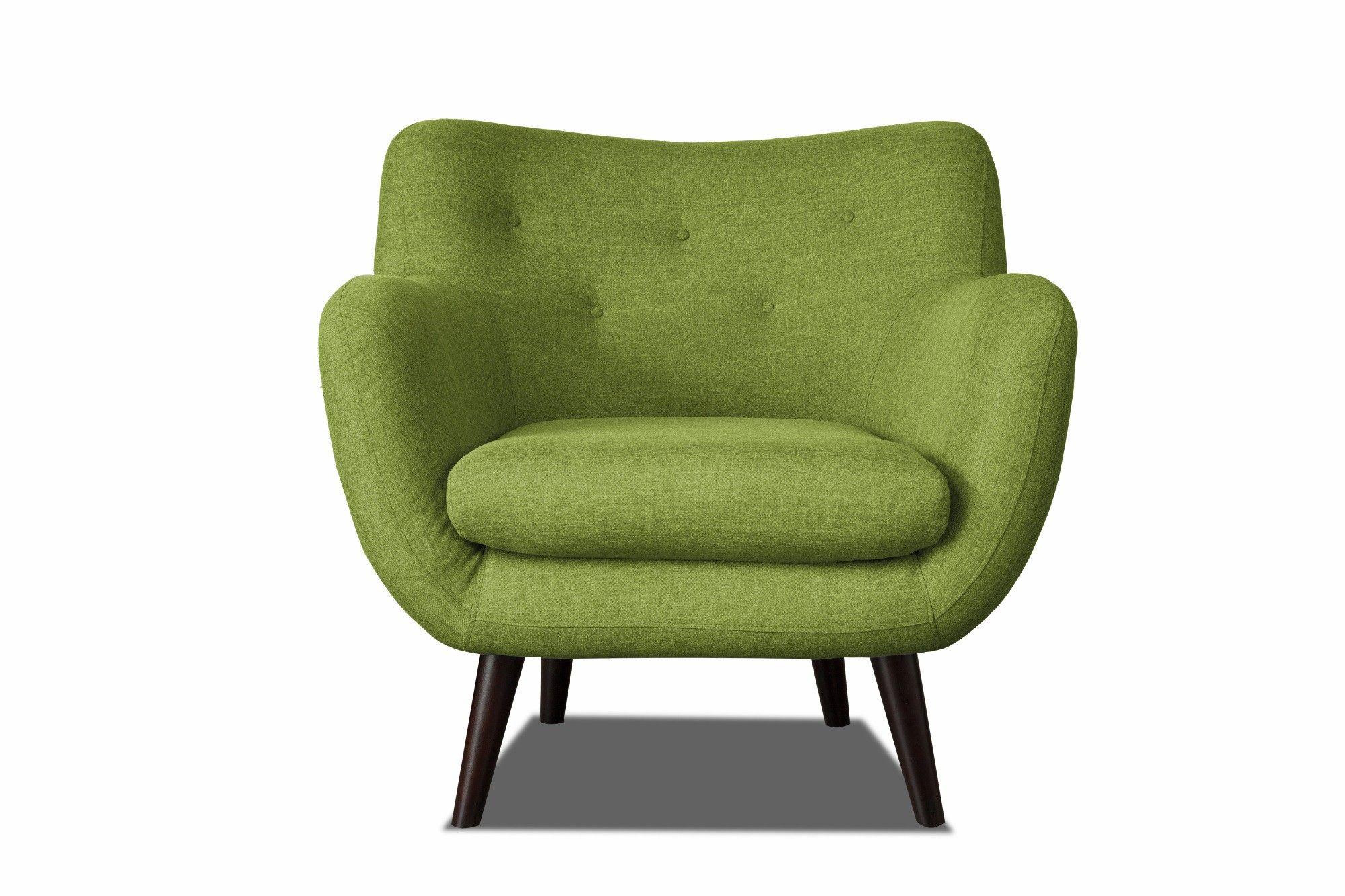 Fauteuil design en tissu vert Axelle