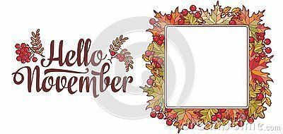Hello November lettering phrase text.Autumn leaves frame with Rowan, maple, birch and oak. Autumn quote. Fall leaf design.Foliage forest leaf vector. Red, Green, brown and yellow falling autumn leaves #autumnleavesfalling Hello November lettering phrase text.Autumn leaves frame with Rowan, maple, birch and oak. Autumn quote. Fall leaf design.Foliage forest leaf vector. Red, Green, brown and yellow falling autumn leaves #autumnleavesfalling Hello November lettering phrase text.Autumn leaves frame #autumnleavesfalling