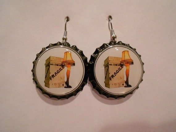 A CHRISTMAS STORY LEG LAMP CHRISTMAS BOTTLE CAP EARRINGS