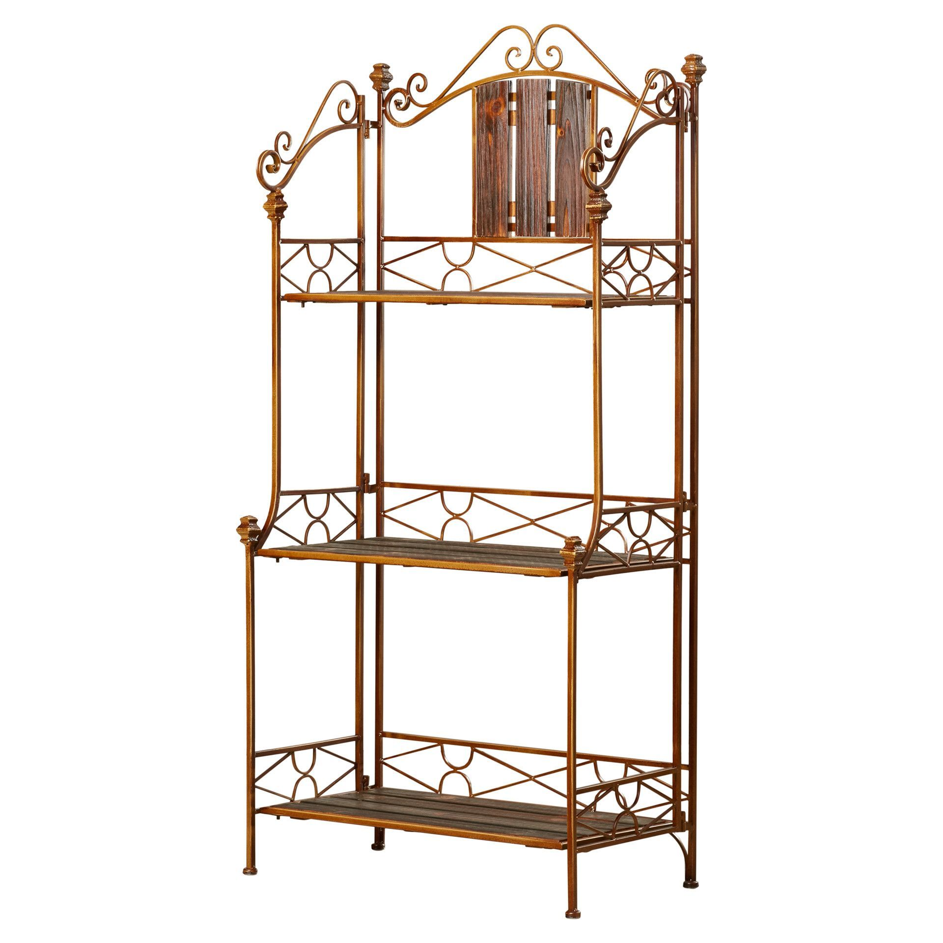 Dandre 3 Tier Kitchen Iron Baker S Rack Rustic Bakers Racks