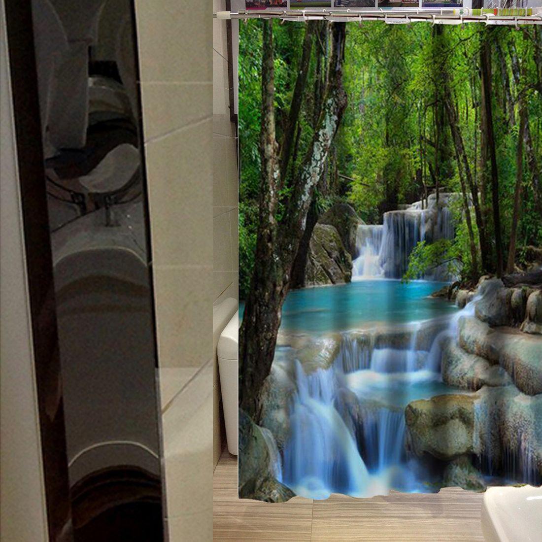 Pretty Nice 3d Waterfall Scenery Waterproof Shower Curtain