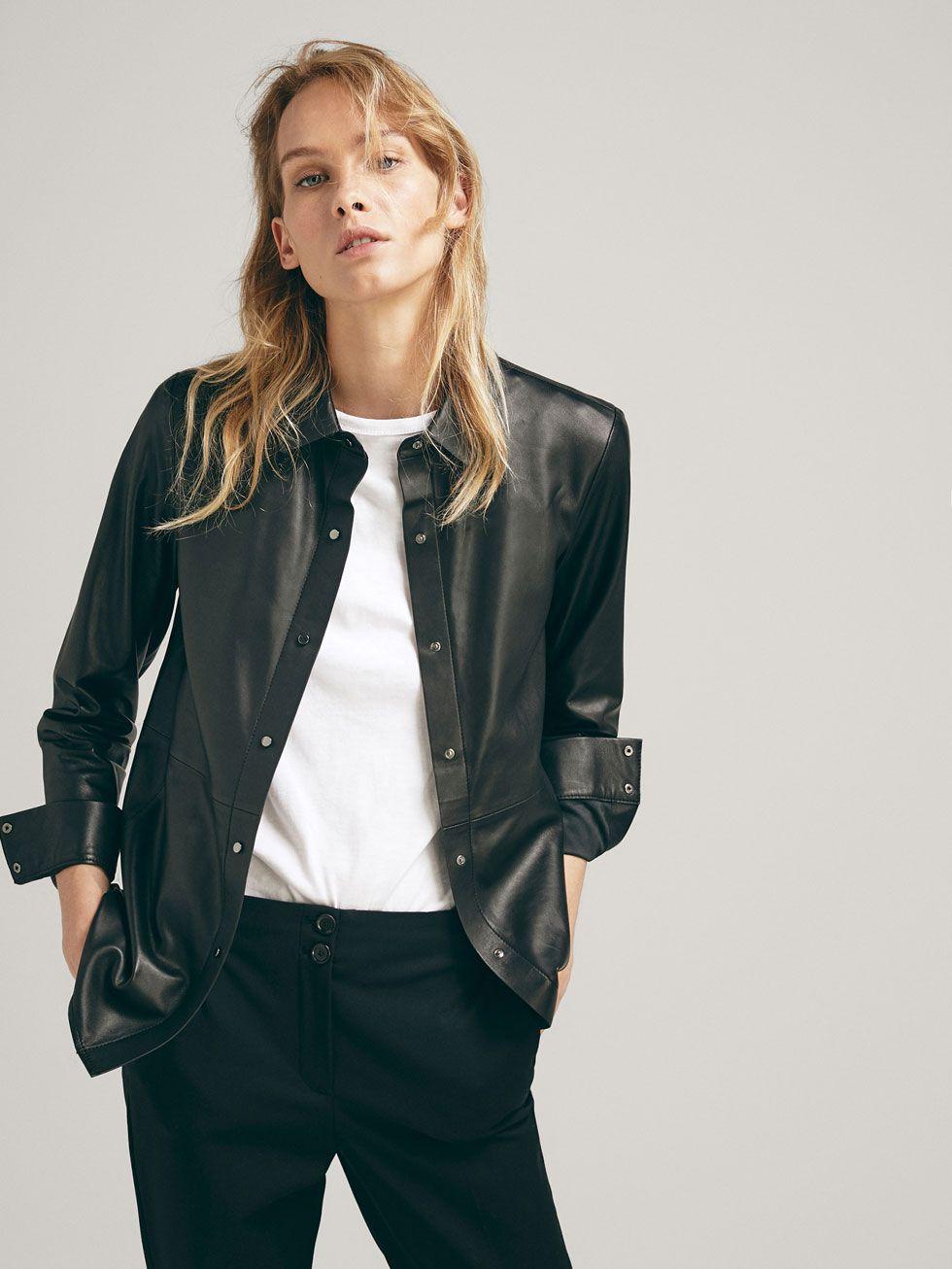 nueva colección zapatos casuales tienda CAMISA NAPA BOTONES - Mujer - Massimo Dutti España | Camisa de ...