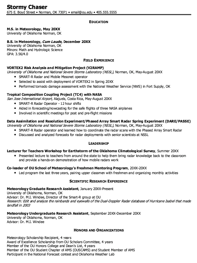 Meteorology Graduate Resume Samples  HttpExampleresumecvOrg