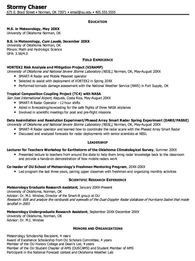 Meteorology Graduate Resume Samples Examples Resume Cv Meteorology Resume Resume Cv