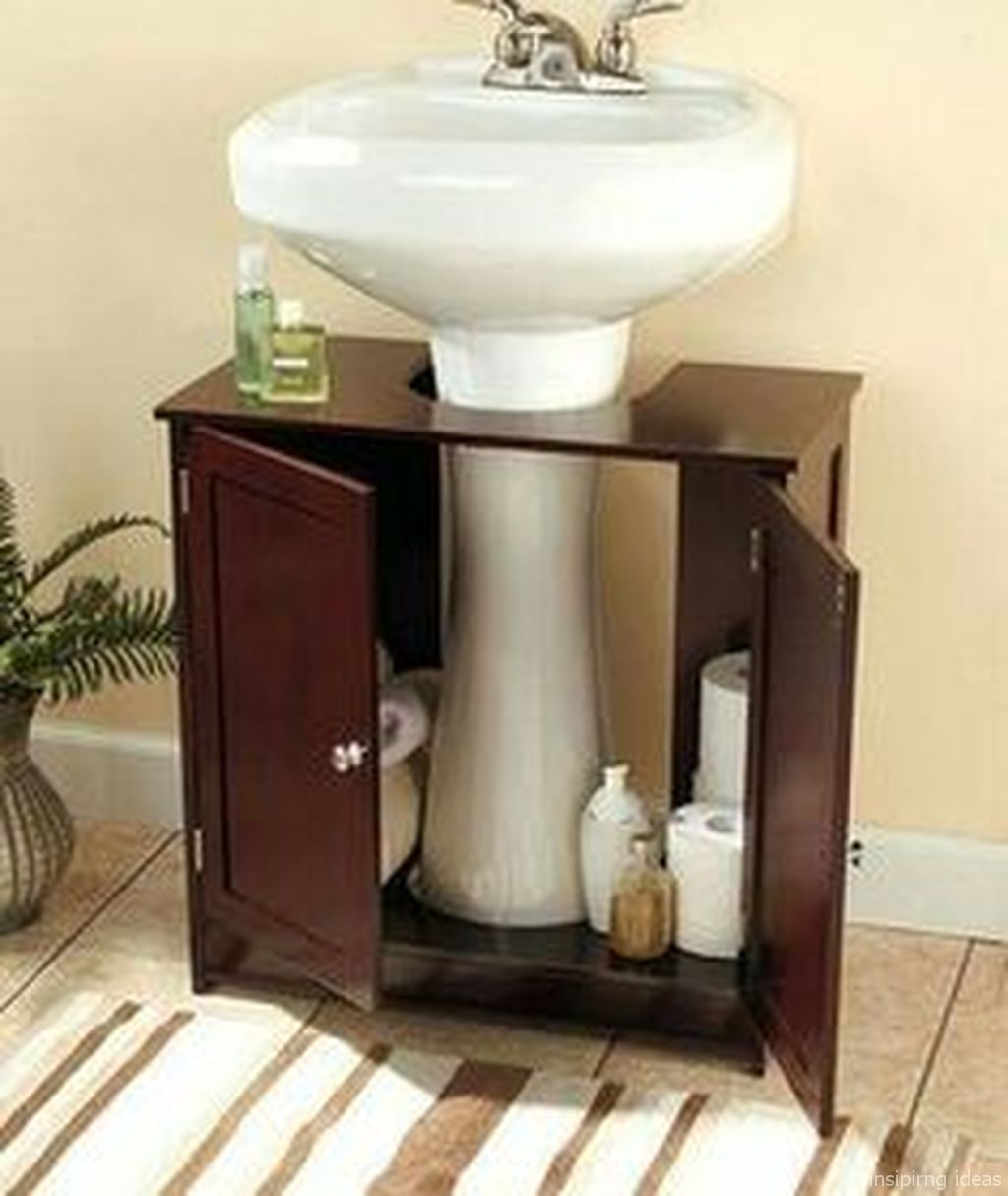 Awesome 135 Rustic Storage Cabinet Ideas On A Budget Https Roomaholic Com 2576 135 Rustic Storage C Pedestal Sink Storage Small Bathroom Storage Sink Storage