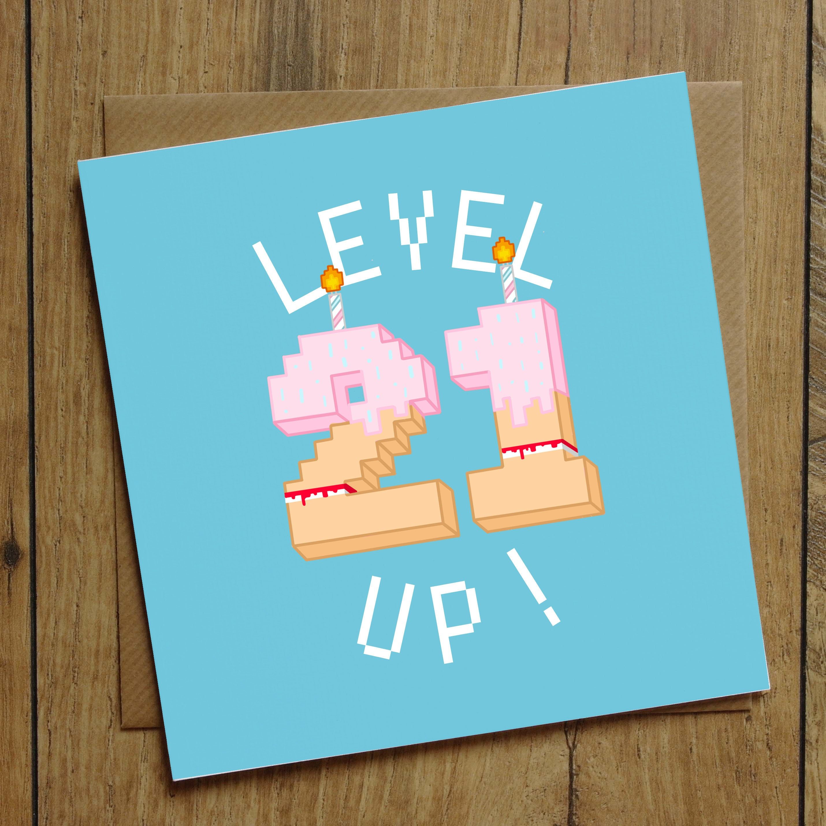 21st Birthday Card Level Up Card Birthday Number Card Etsy 21st Birthday Cards Birthday Cards 30th Birthday Cards