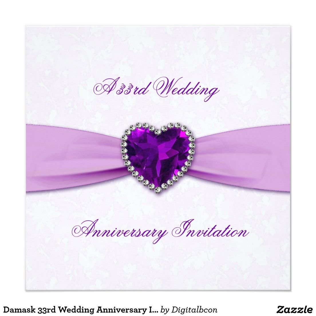 Damask 33rd Wedding Anniversary Invitation 33rd Wedding