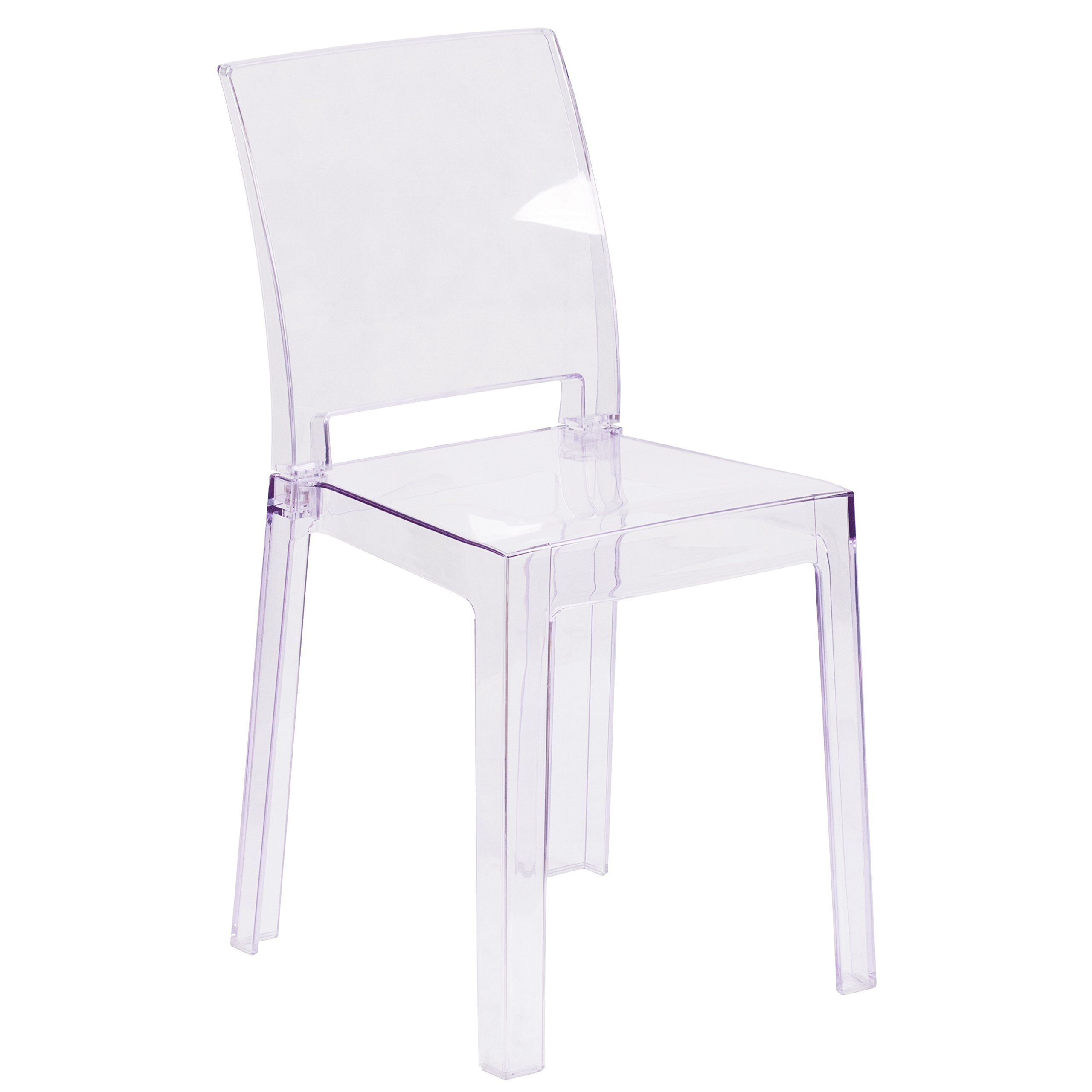 Flash Furniture Ghost Chair With Square Back In Transparent