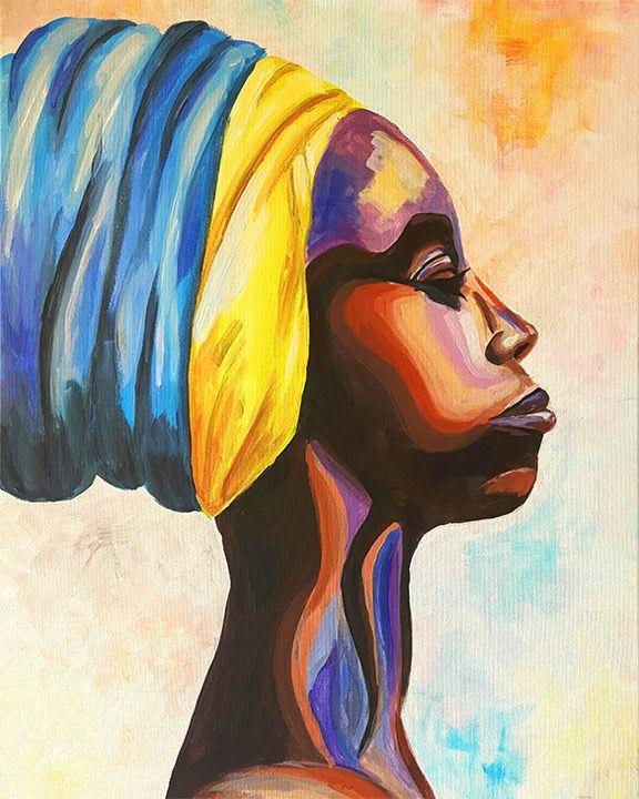 artmasters african beauty acryl leinwand malen afrikanische frau portrat modern art kreative events moderne acrylgemälde malerei künstler