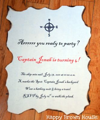 Message in a bottle pirate birthday invitations party invitations pirate party invitation filmwisefo Image collections
