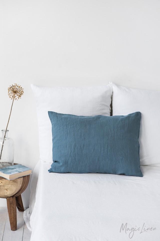 Gray Blue Linen Pillowcase In 2020 Linen Bed Sheets Pillows Linen Duvet