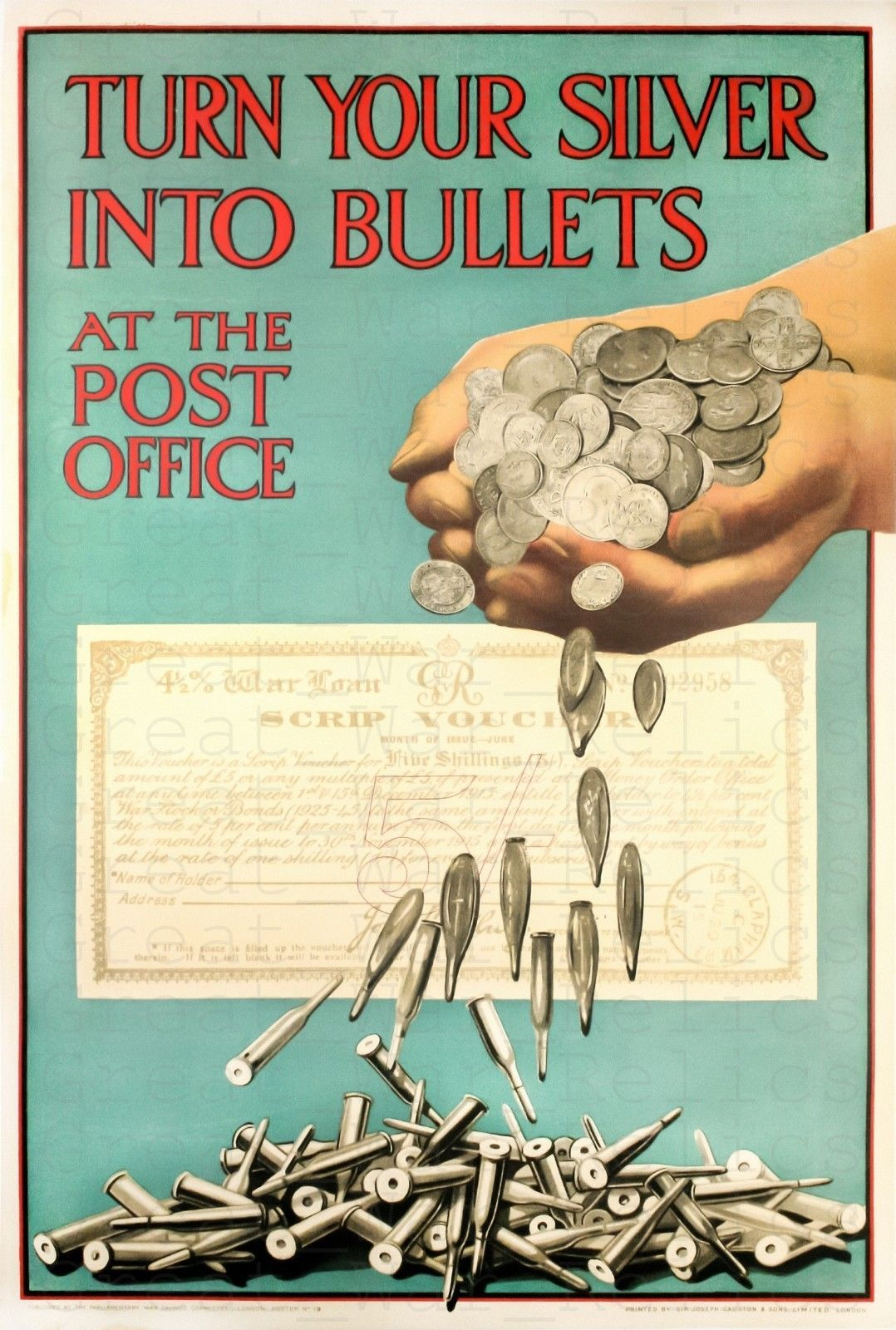 Details About American Propaganda Poster Turn Your Silver Into Bullets War Usa Agitation Ww1 Propaganda Posters Wwii Posters Propaganda Posters