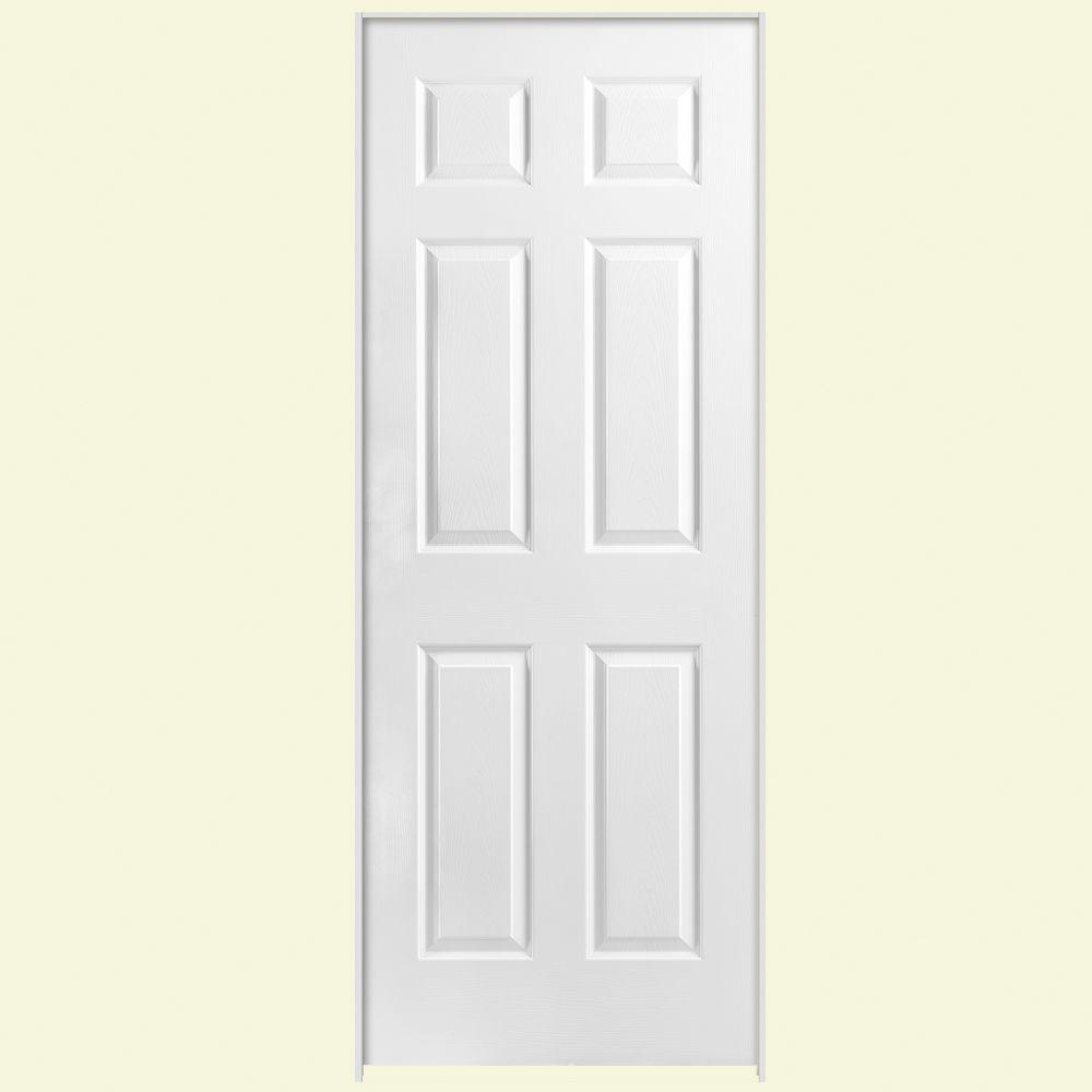 Masonite 30 In X 80 In Solidoor 6 Panel Left Handed Solid Core Textured Primed Composite Single Prehung Interior Door 18863 The Home Depot Doors Interior Prehung Interior Doors Masonite Interior Doors