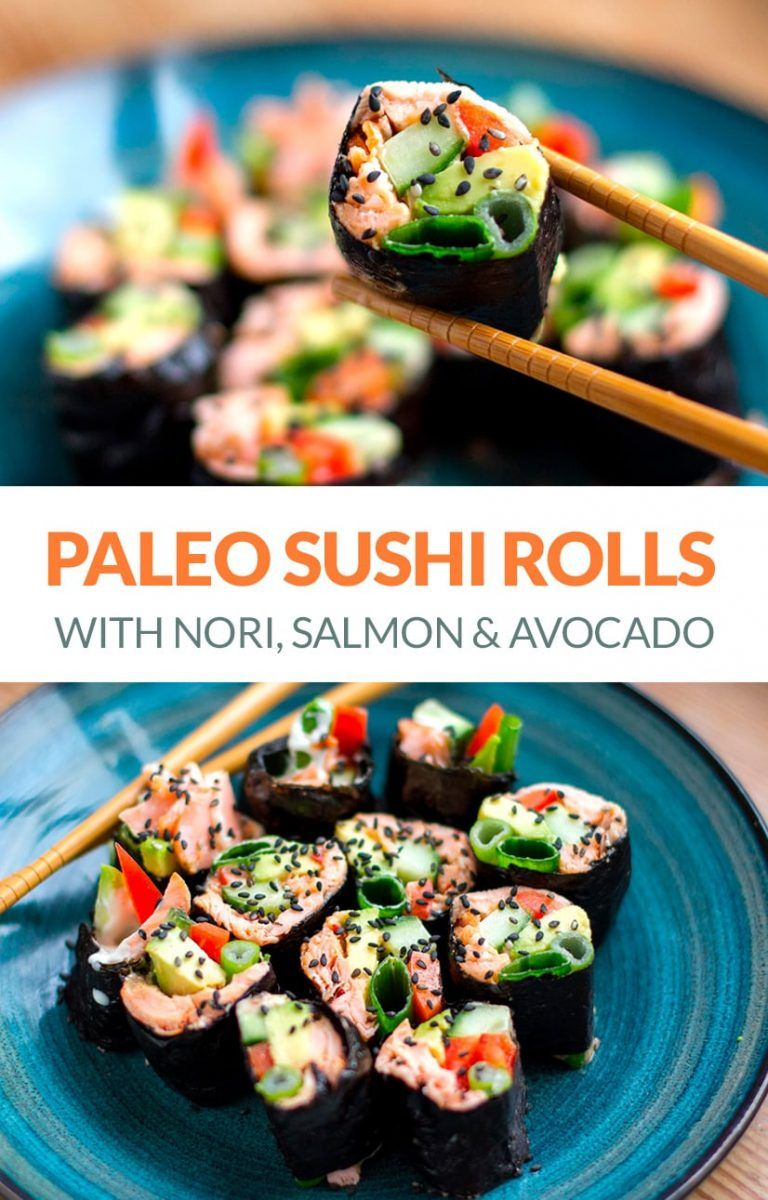 Paleo Sushi Rolls - Healthy Homemade Recipe Using Nori Seaweed Sheets, Salmon & Avocado