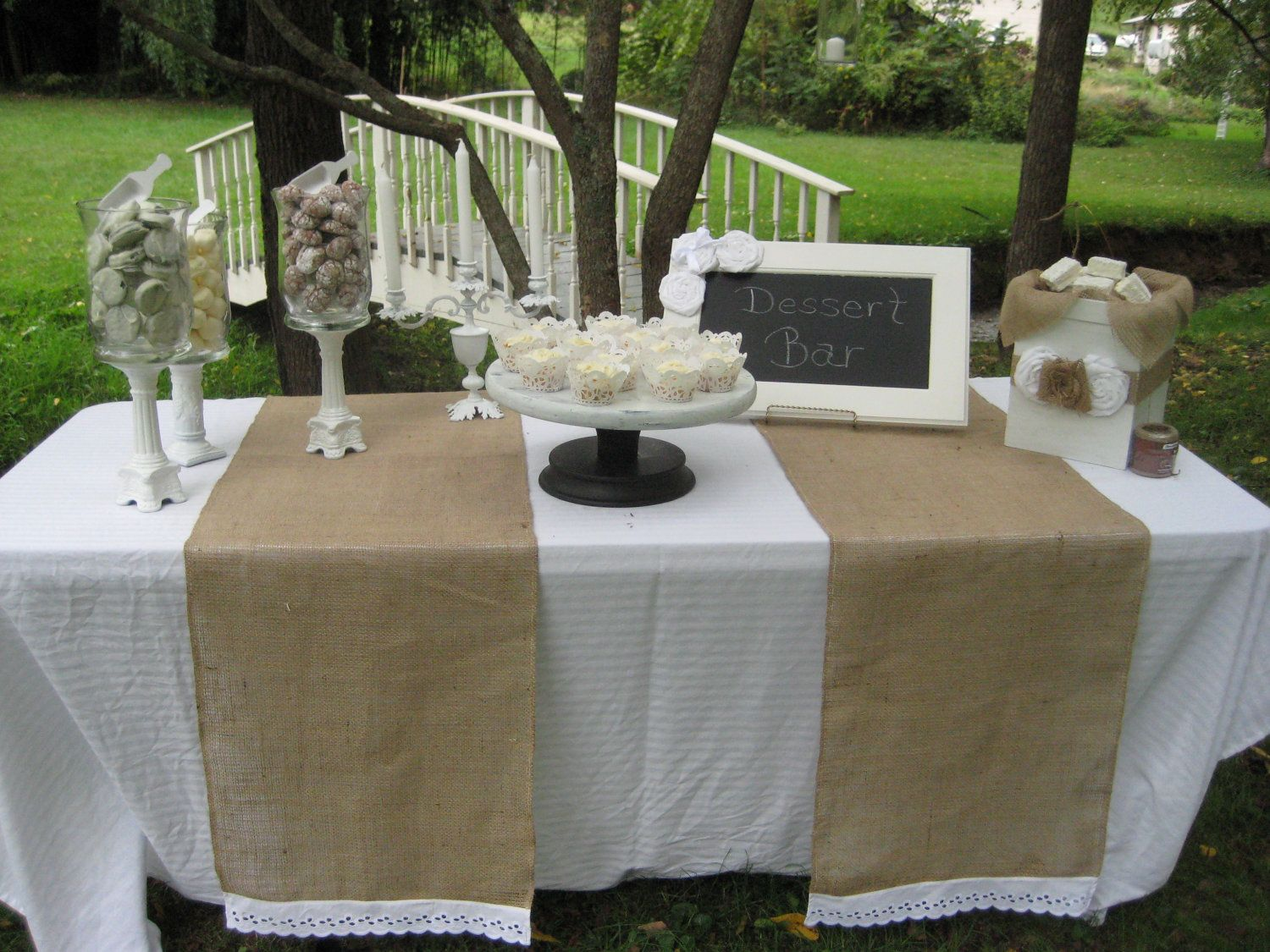 Burlap Table Runner Rustic Wedding Decor Eyelet Lace