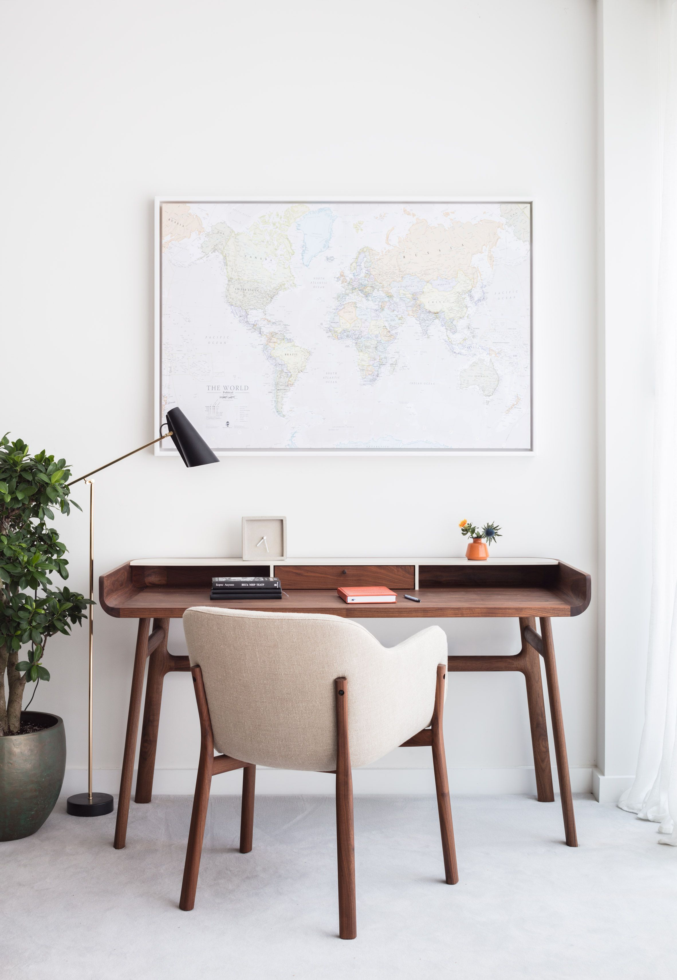 The study is furnished with pieces including the Harold Desk by Luca Nichetto and Porto Chair by Matthew Hilton. Modern New Home by Black & Milk #modernfurniture2016