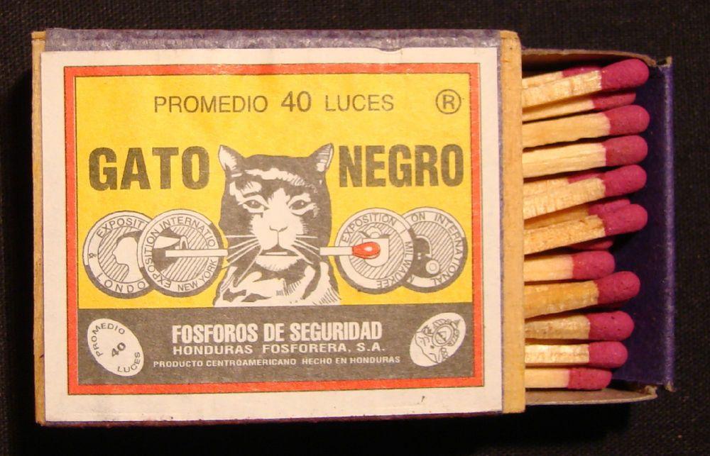 Full Box of GATO NEGRO Matches from Honduras Unused Cat holding a match