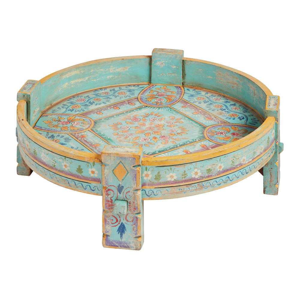 Distressed Turquoise Hand Painted Grinder Table With Images