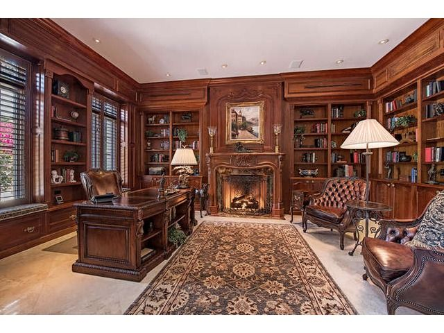 Traditional Home Office Space Grand Study With A Fireplace