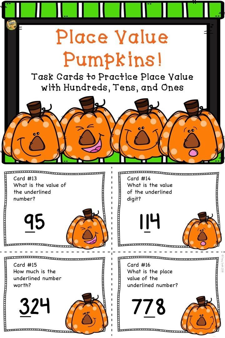 Place Value to the Hundreds Place - Task Cards SCOOT - Pumpkin ...