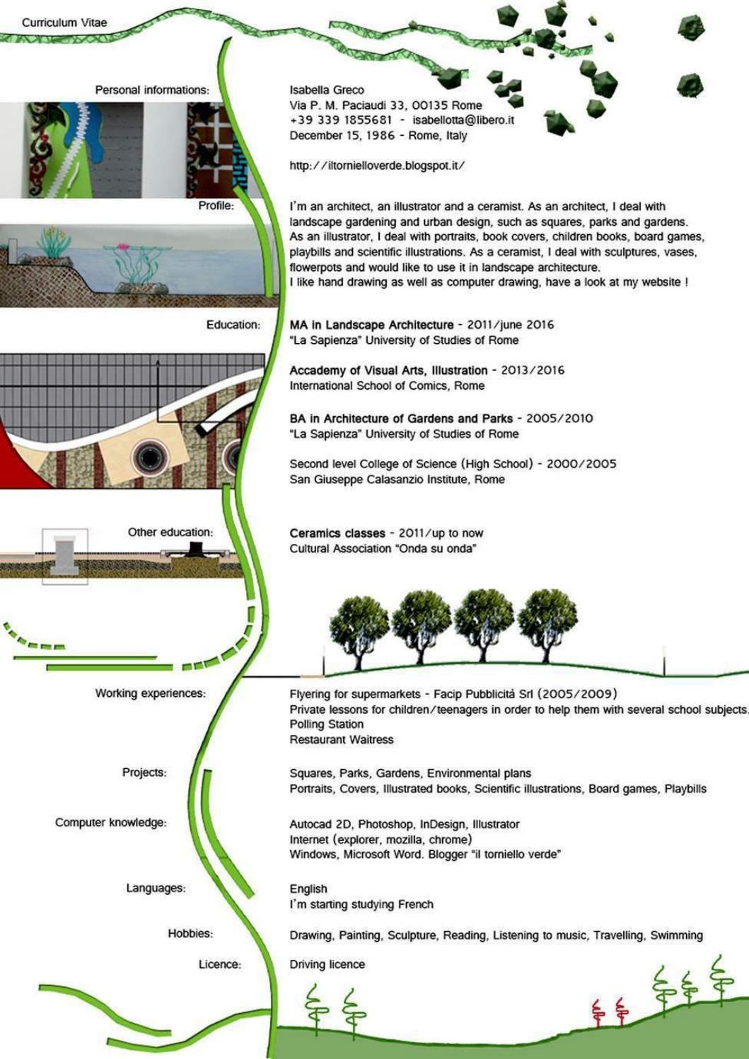 Portfolio Landscape architect, Cv design, Architect