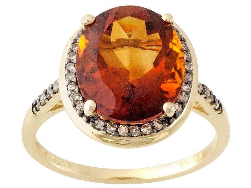 Orange Madeira Citrine 10k Yellow Gold Ring 4 16ctw Yellow Gold Rings Brown Gemstone Orange Gemstone