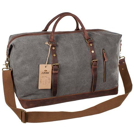 Canvas Duffle Bag Carry on for Men Large Waterproof Travel Tote Oversized Genuine Leather Weekend Bag