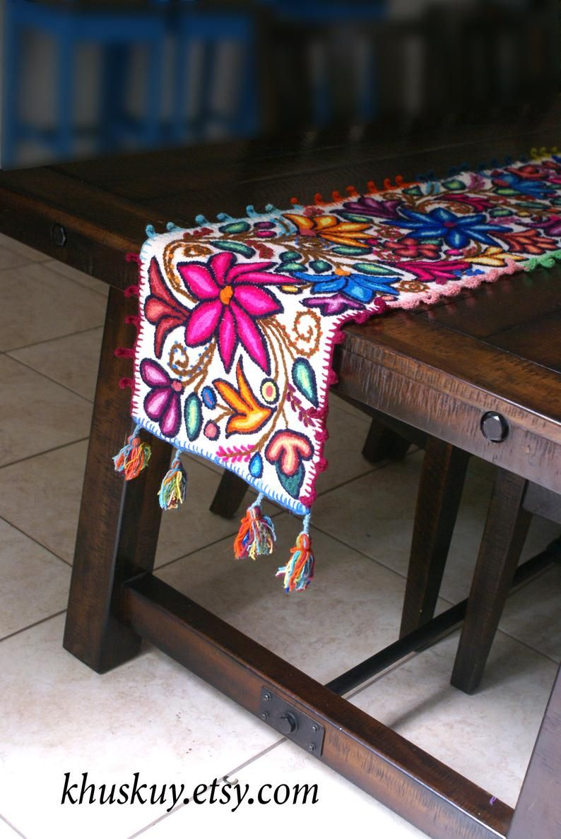 Boho Table Runner Wedding Table Bed Runner Peru Tapestry Textile