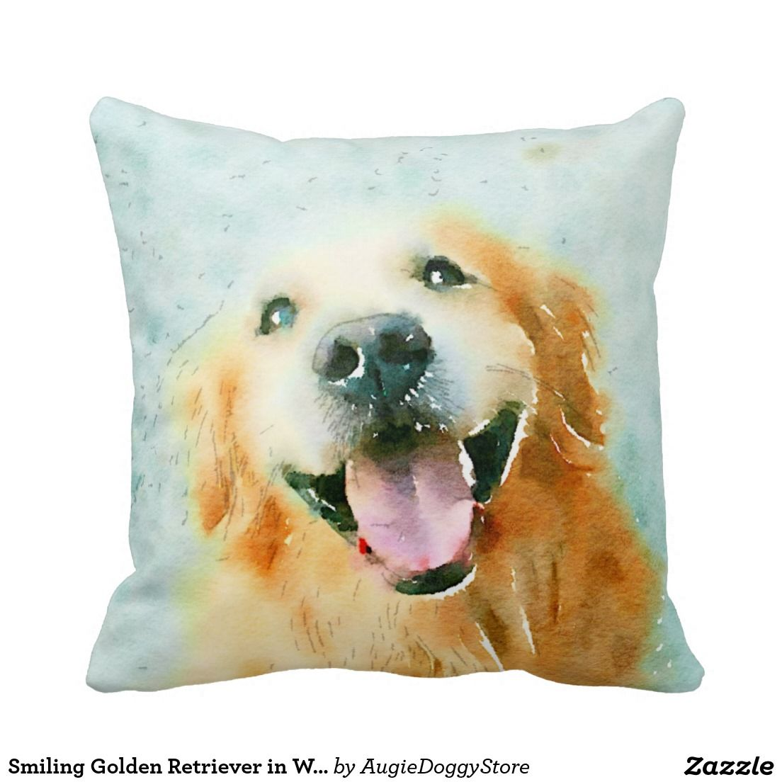 Smiling Golden Retriever in Watercolor Throw Pillow by #AugieDoggyStore