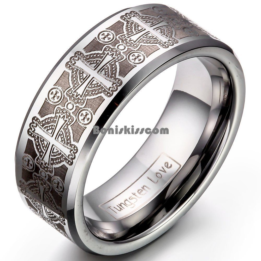 8mm Men S Tungsten Carbide Ring Comfort Fit Laser Celtic Cross Wedding Band Ebay Tungsten Mens Rings Engagement Rings For Men Gothic Engagement Ring