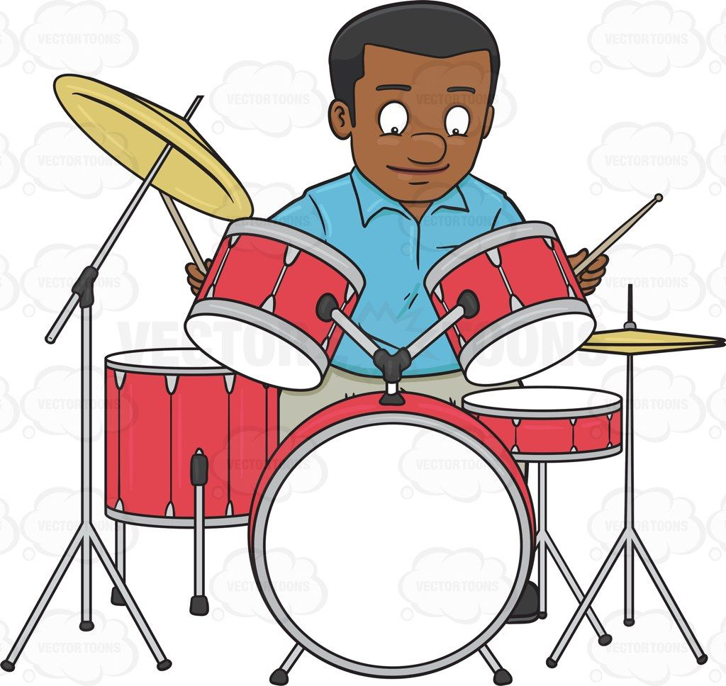 a black man smirks as he begins to hit the drums with drumsticks rh pinterest com drummer birthday clipart drums clipart