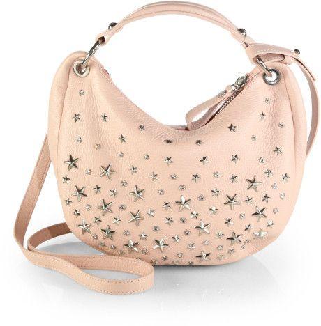 ec3d3624fda3 Jimmy Choo Stellar Crystalstudded Leather Hobo in Pink (LYCHEE) - Lyst