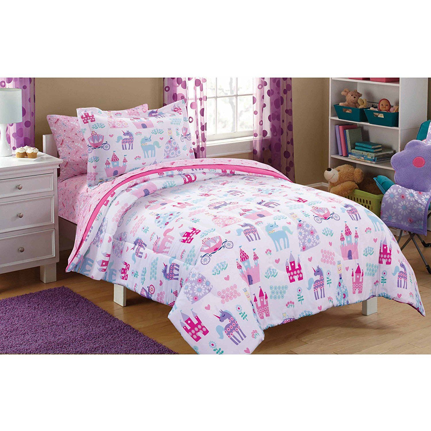 Amazon Mainstays Kids Pretty Princess Bed in a Bag Bedding Set