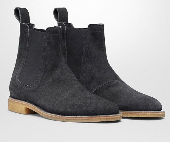 2dc912c15073 New Handmade Men Black Chelsea Suede Leather Boots