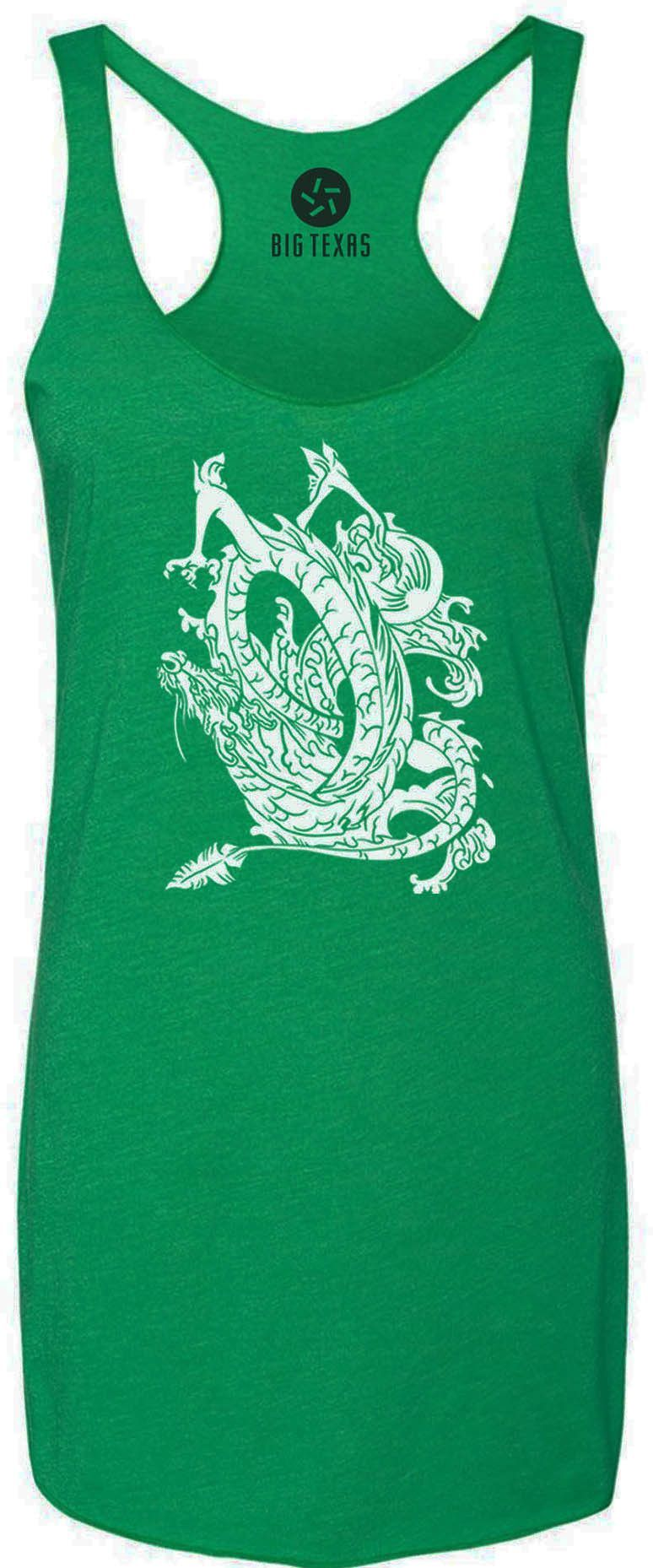 Dragon in Flight (White) Tri-Blend Racerback Tank-Top
