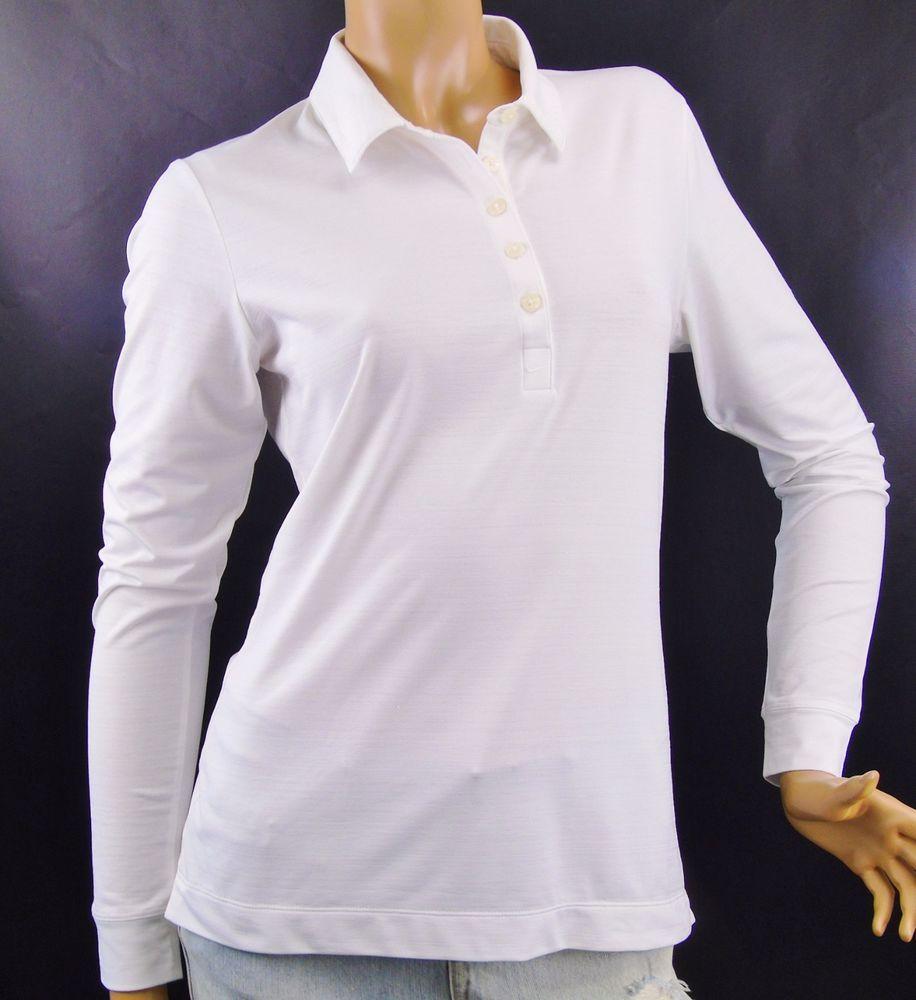 Nike Golf Womens Dri Fit Polo Shirt 401144 White Long Sleeve Uv