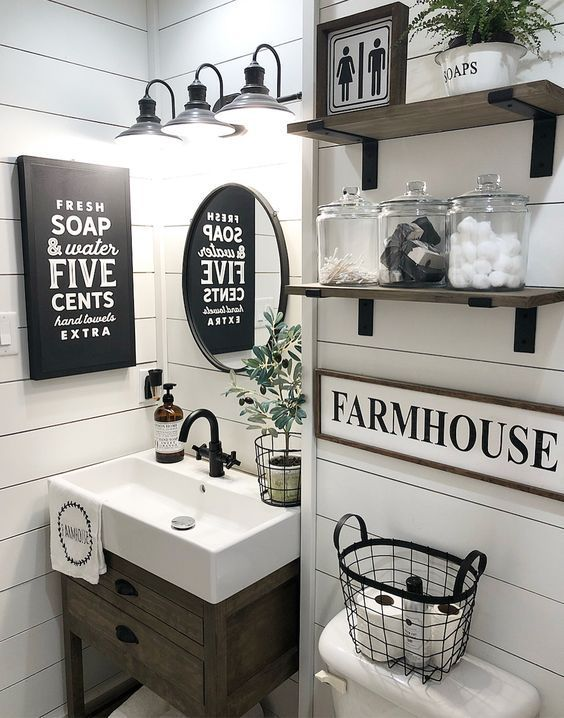 50 Awesome Diy Farmhouse Wall Decoration Ideas Bathroom Farmhouse Style Farmhouse Bathroom Decor Small Bathroom Decor