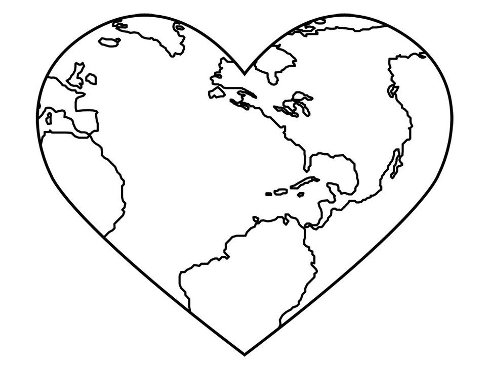 Love Your Planets Earth Day coloring picture for kids Earth Day - new love heart coloring pages to print