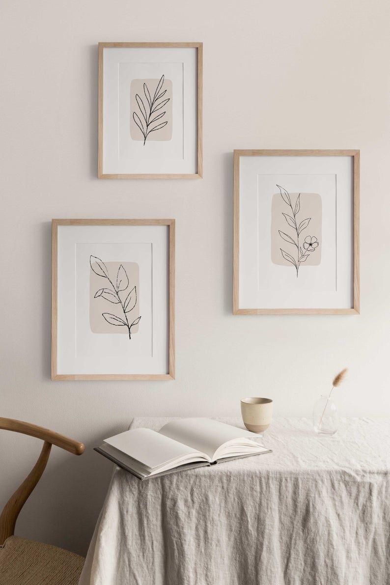 Neutral botanicals set of 3 prints | digital art | instant download | printable art | home decor | line art | minimal art | botanical art