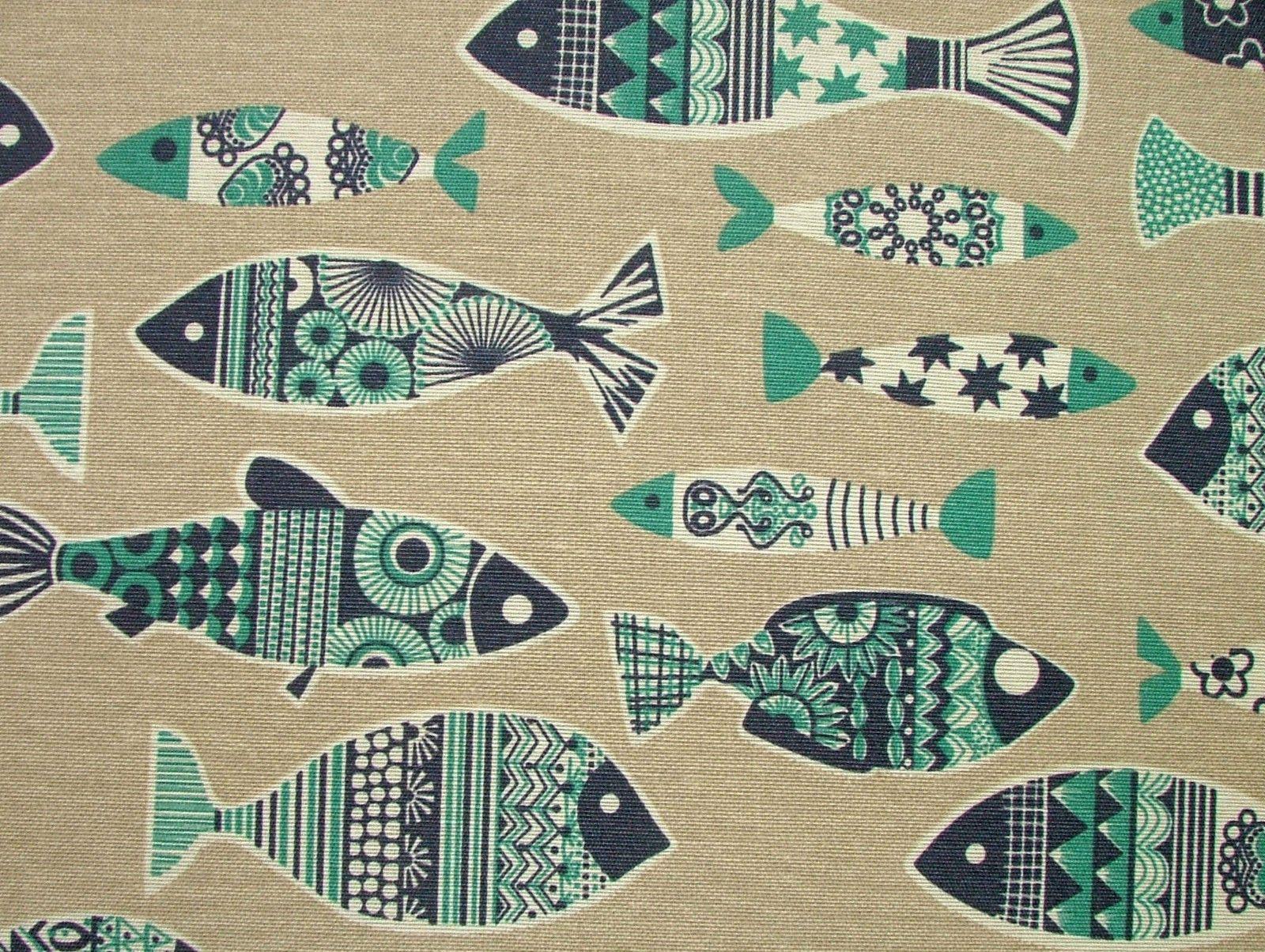 Scandinavian Fish Natural Linen Look Curtain Upholstery Quilting Designer Fabric Scandinavian Upholstery Fabric Fish Design Scandinavian Pattern