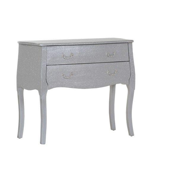 Diese Kommode zieht alle Augen auf sich! In Silberfarben gehalten, ist die Konsole das perfekte Möbel für Ihr Wohn- oder Schlafzimmer!