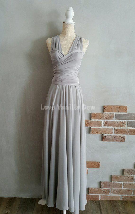 867c5ae6f950 Bridesmaid Dress Infinity Dress Light Grey with Chiffon Overlay Floor  Length Maxi Wrap Convertible D