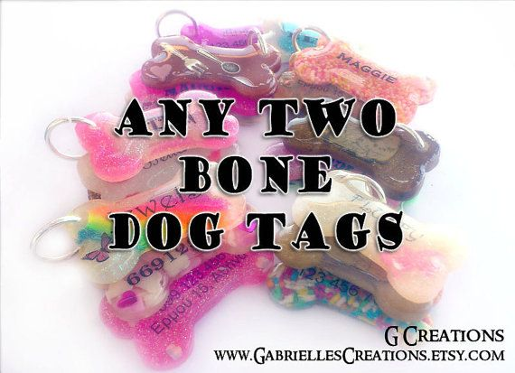 Bundle ANY TWO Bone Dog Tags  Personalized by GabriellesCreations