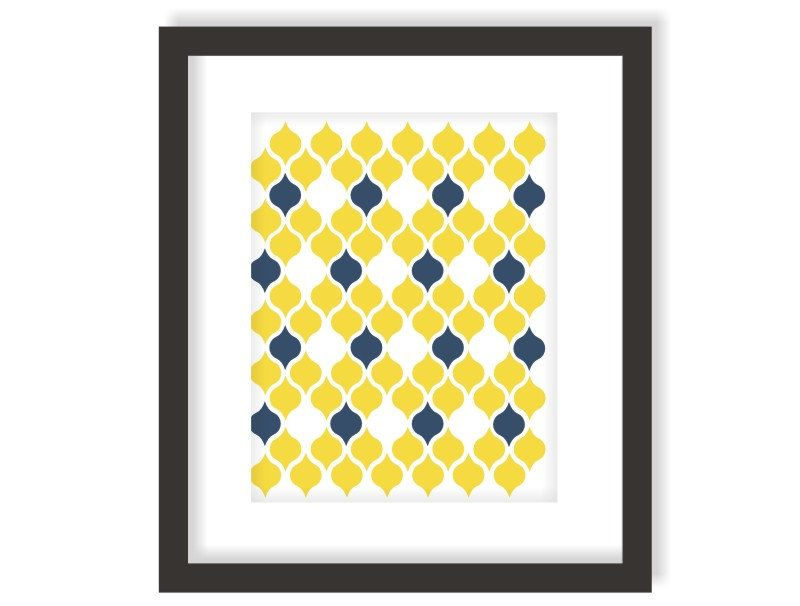 Teardrop Pattern Art Print Navy Blue and Yellow - Modern Wall Decor ...