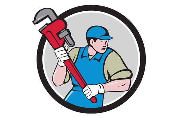 Plumber Running Monkey Wrench Cartoon Styles Cartoon Illustration Cartoon Stickers