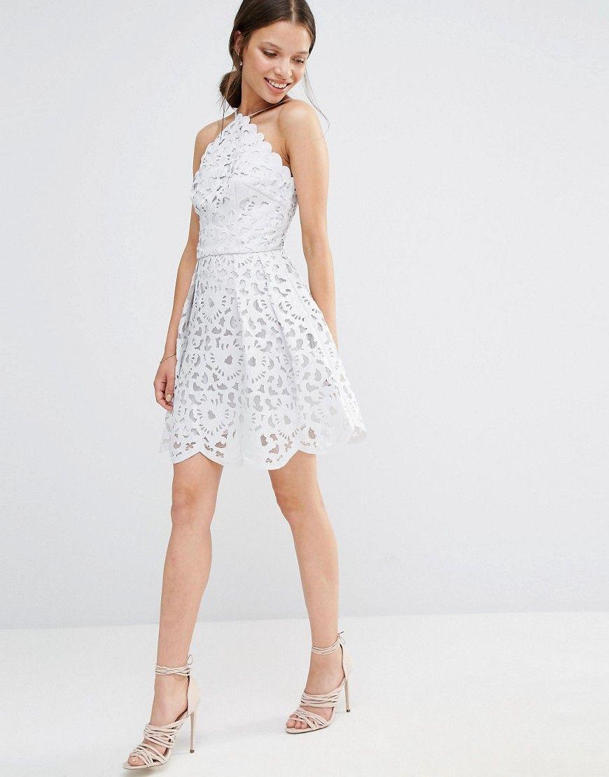 Image 4 ofChi Chi London Petite High Neck Cutwork Midi Prom Dress
