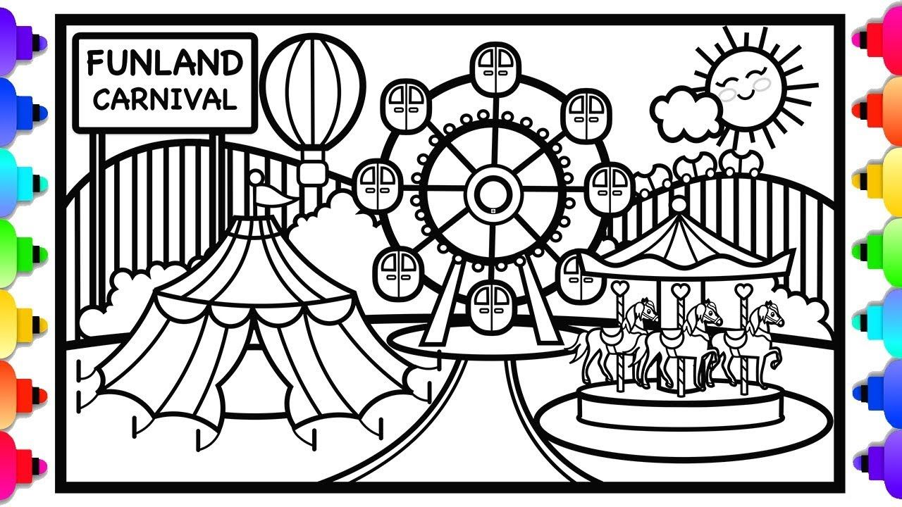 How To Draw A Carnival For Kids Amusement Park Coloring