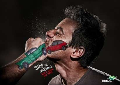 The Ecovia Don't Text and Drive Campaign Pleads 'Stop the Violence' #photography trendhunter.com