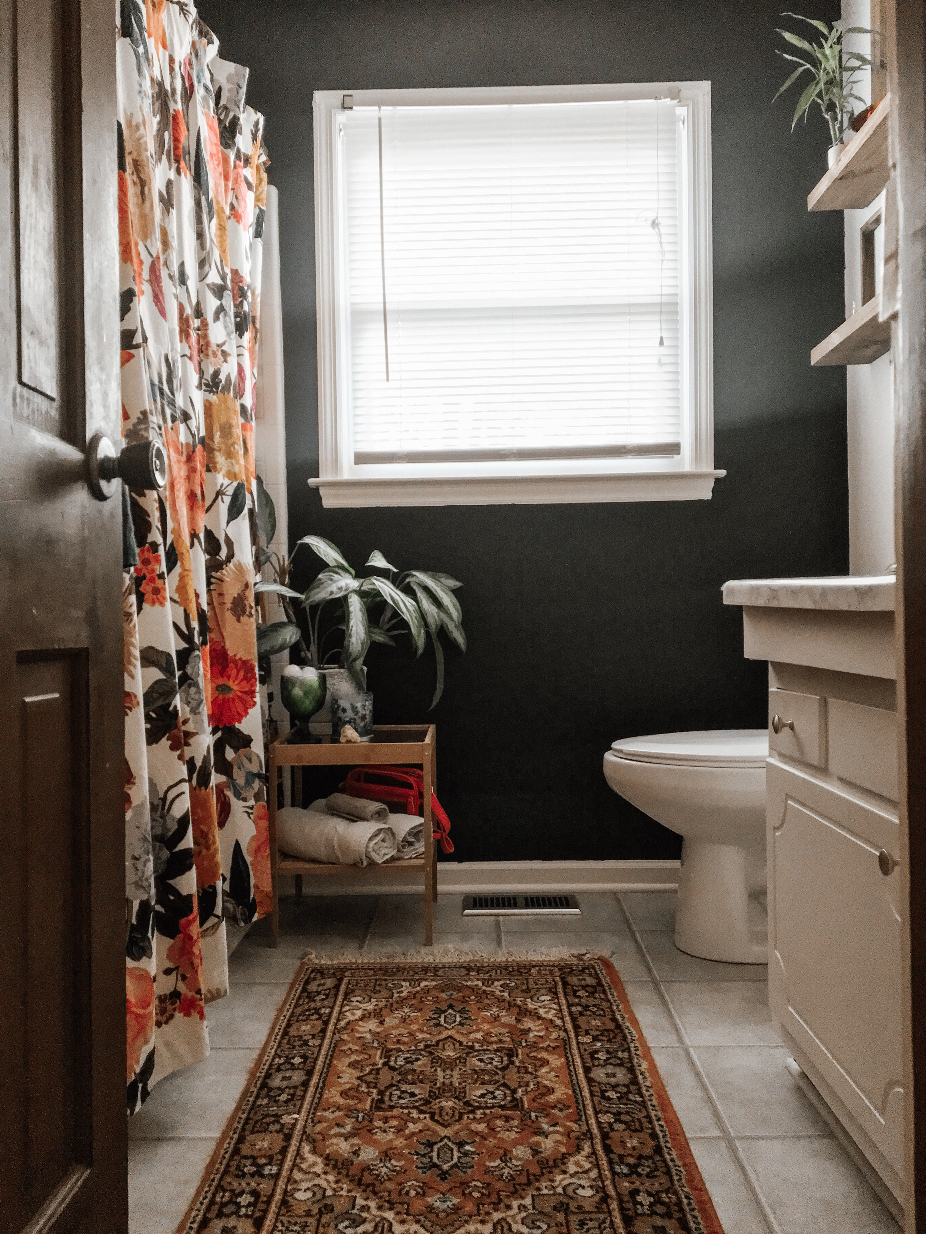 Black Wall In Bathroom With Boho Orange And Anthropologie Shower