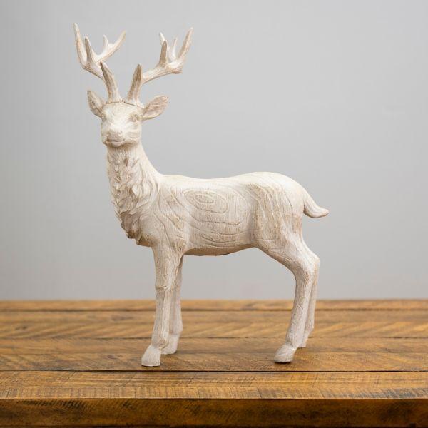 Whitewashed Standing Reindeer Statue From Kirkland S In 2020 Reindeer Statue Deer Decor Christmas Deer Decorations